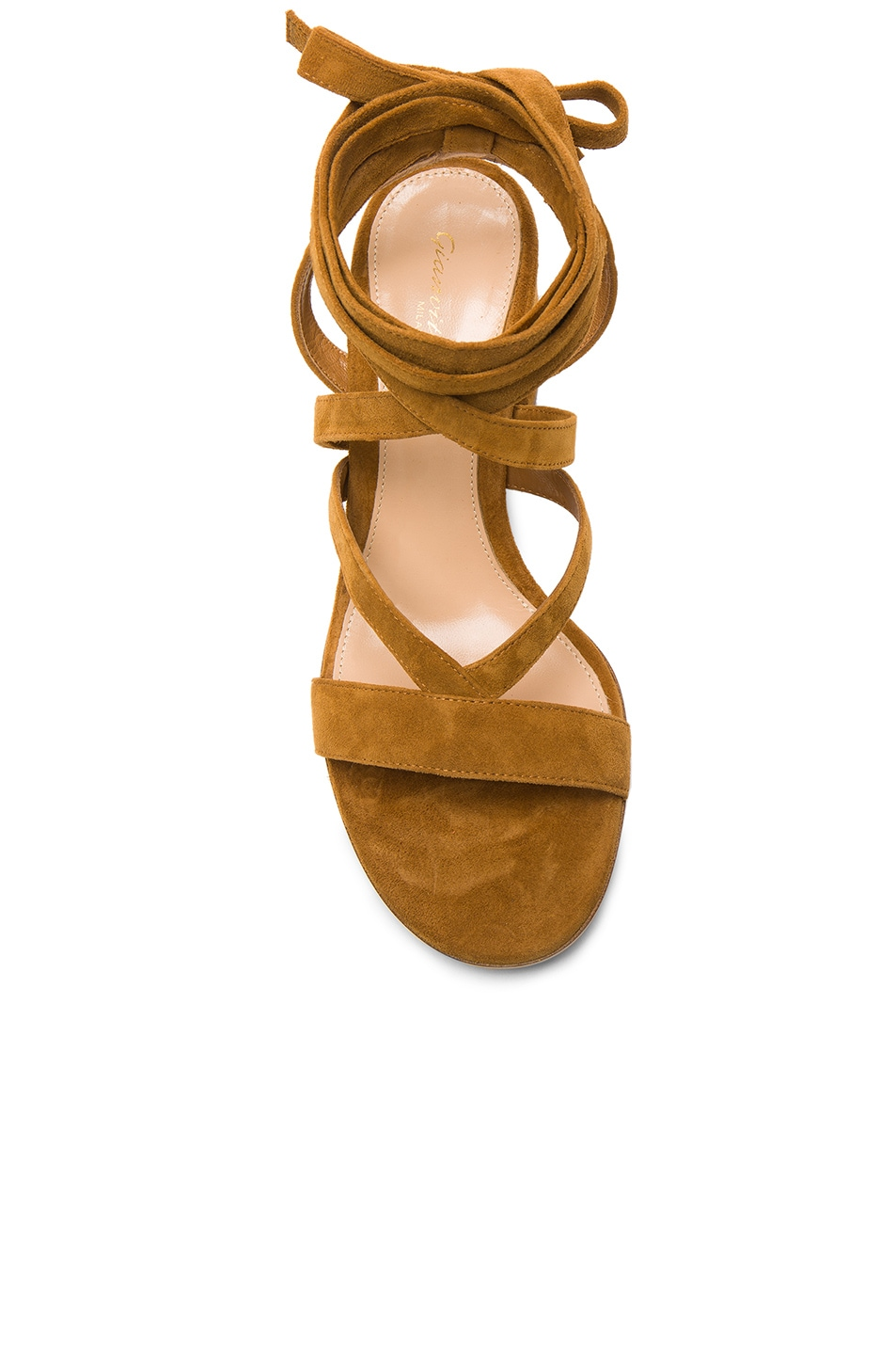Image 4 of Gianvito Rossi Suede Janis Low Sandals in Almond