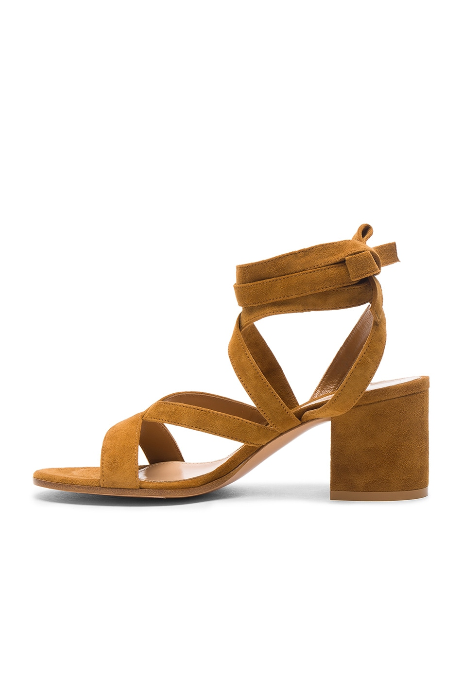 Image 5 of Gianvito Rossi Suede Janis Low Sandals in Almond