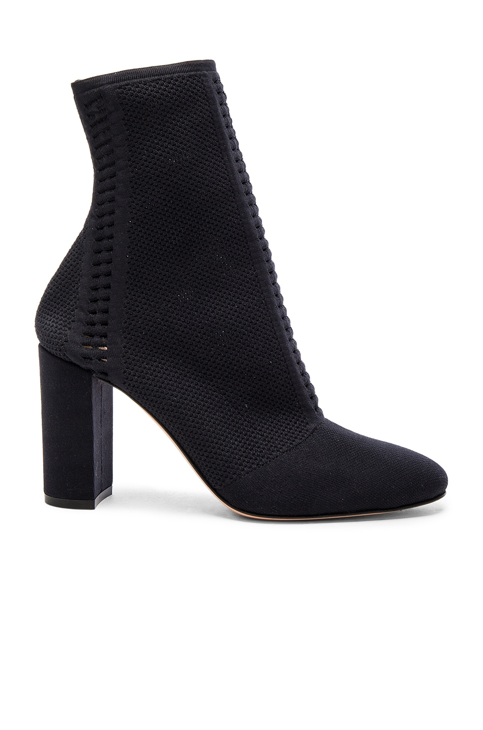 Image 1 of Gianvito Rossi Knit Block Heel Booties in Black