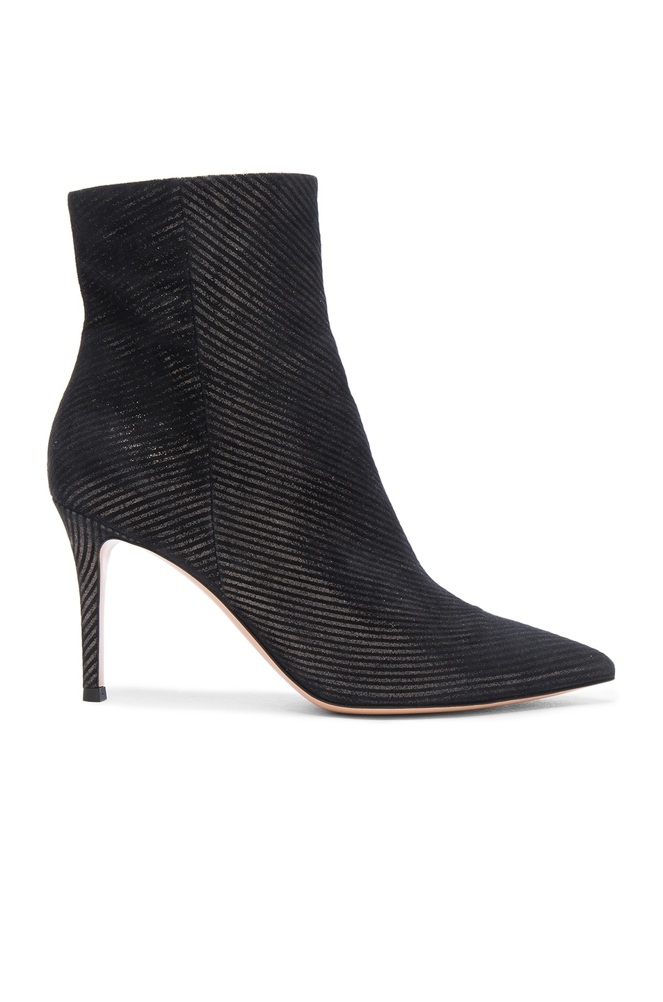 Image 1 of Gianvito Rossi Metallic Pinstripe Booties in Silver
