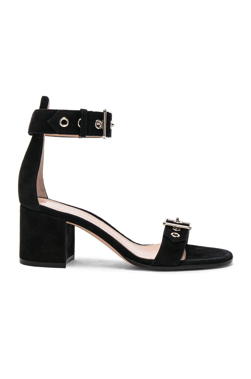 Image 1 of Gianvito Rossi Suede Hayes Buckle Detail Sandals in Black