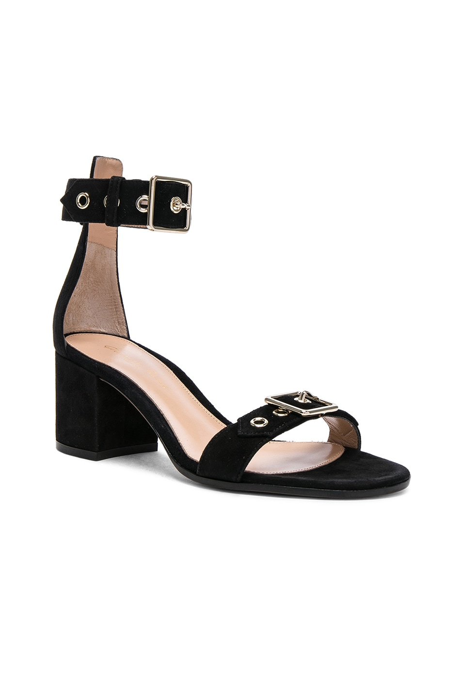 Image 2 of Gianvito Rossi Suede Buckle Detail Sandals in Black