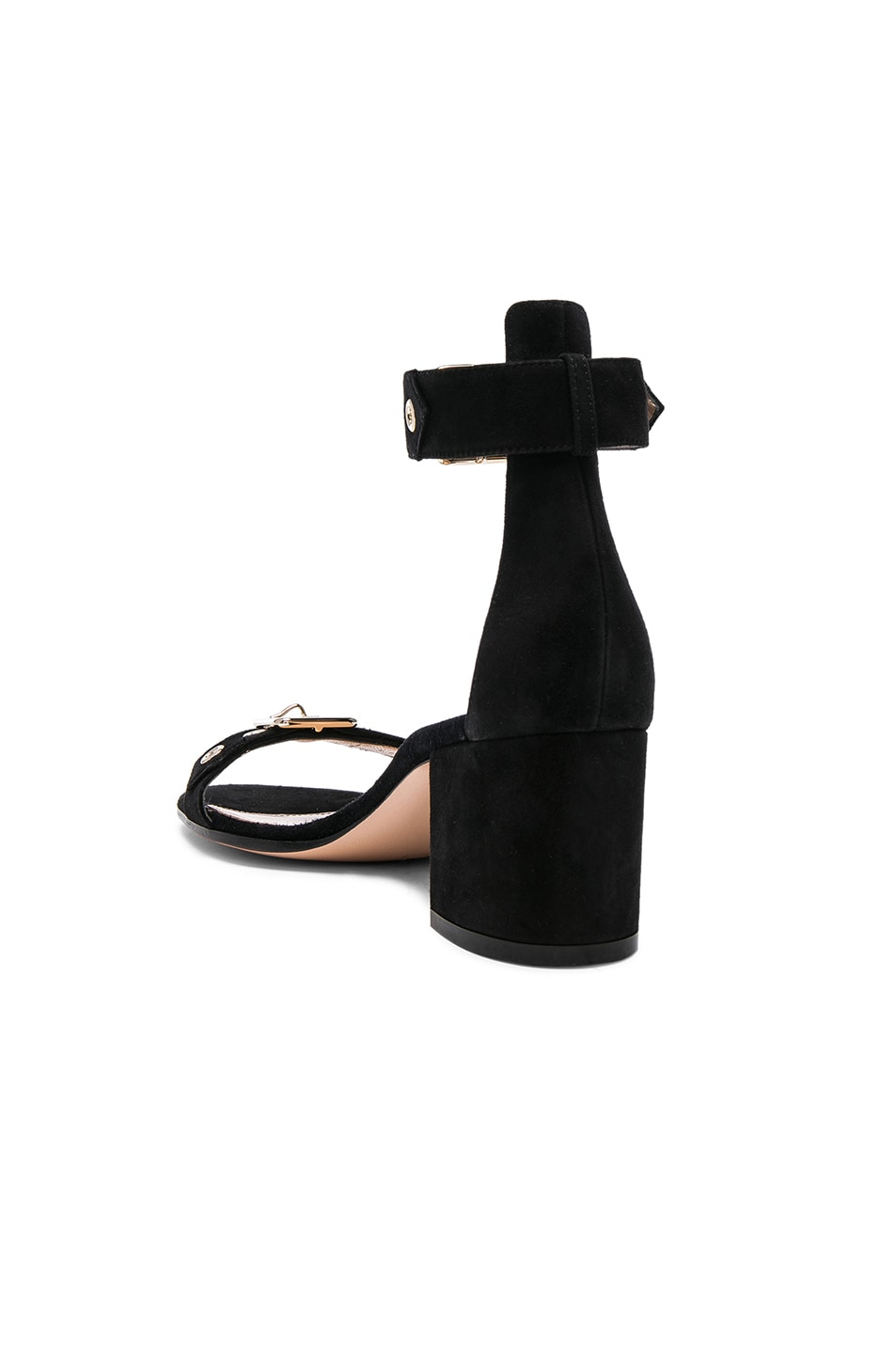 Image 3 of Gianvito Rossi Suede Buckle Detail Sandals in Black