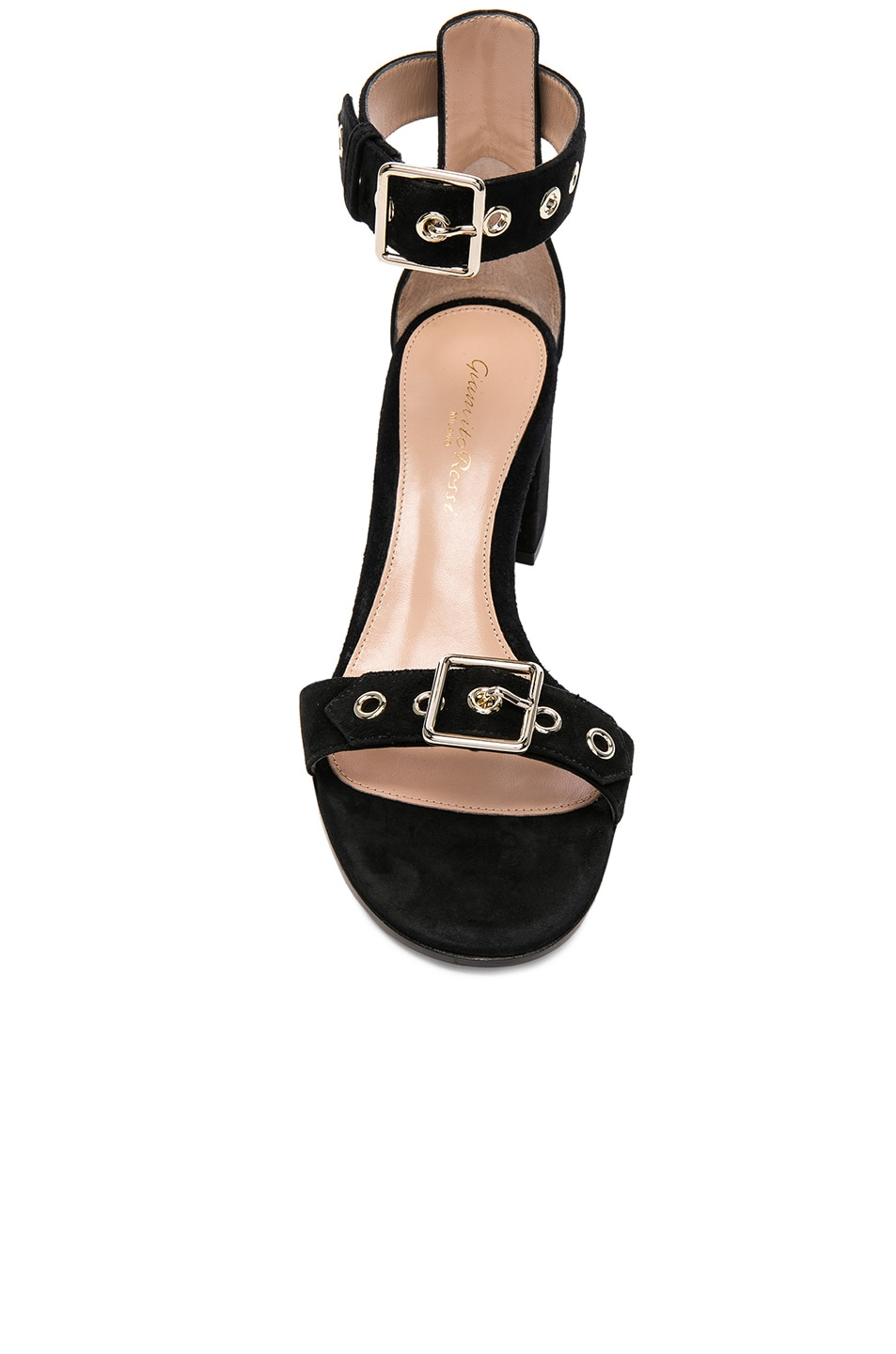 Image 4 of Gianvito Rossi Suede Buckle Detail Sandals in Black