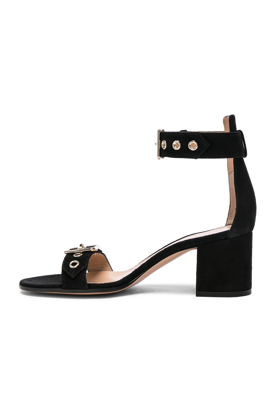 Image 5 of Gianvito Rossi Suede Buckle Detail Sandals in Black