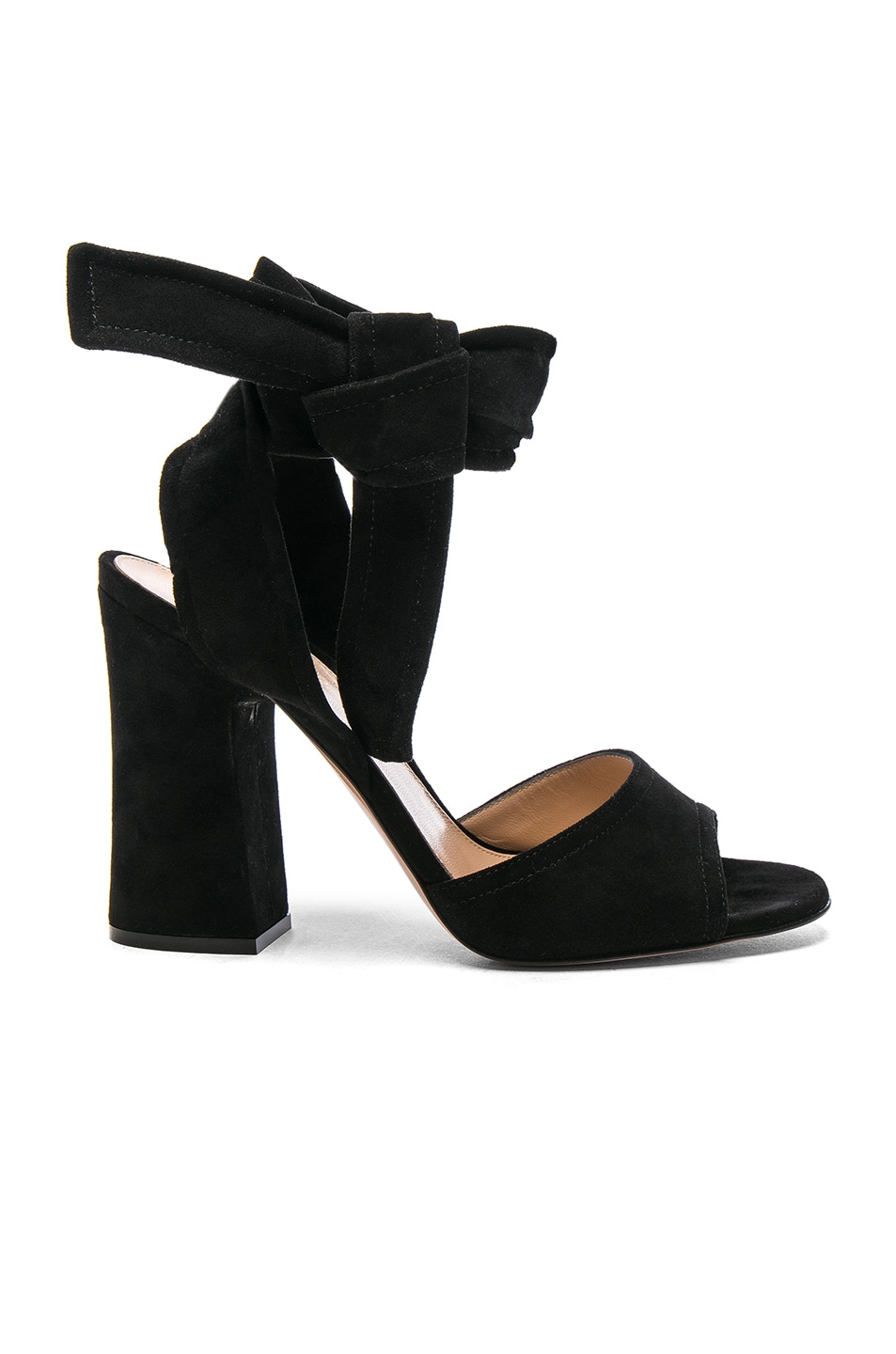Image 1 of Gianvito Rossi Suede Ankle Tie Heels in Black