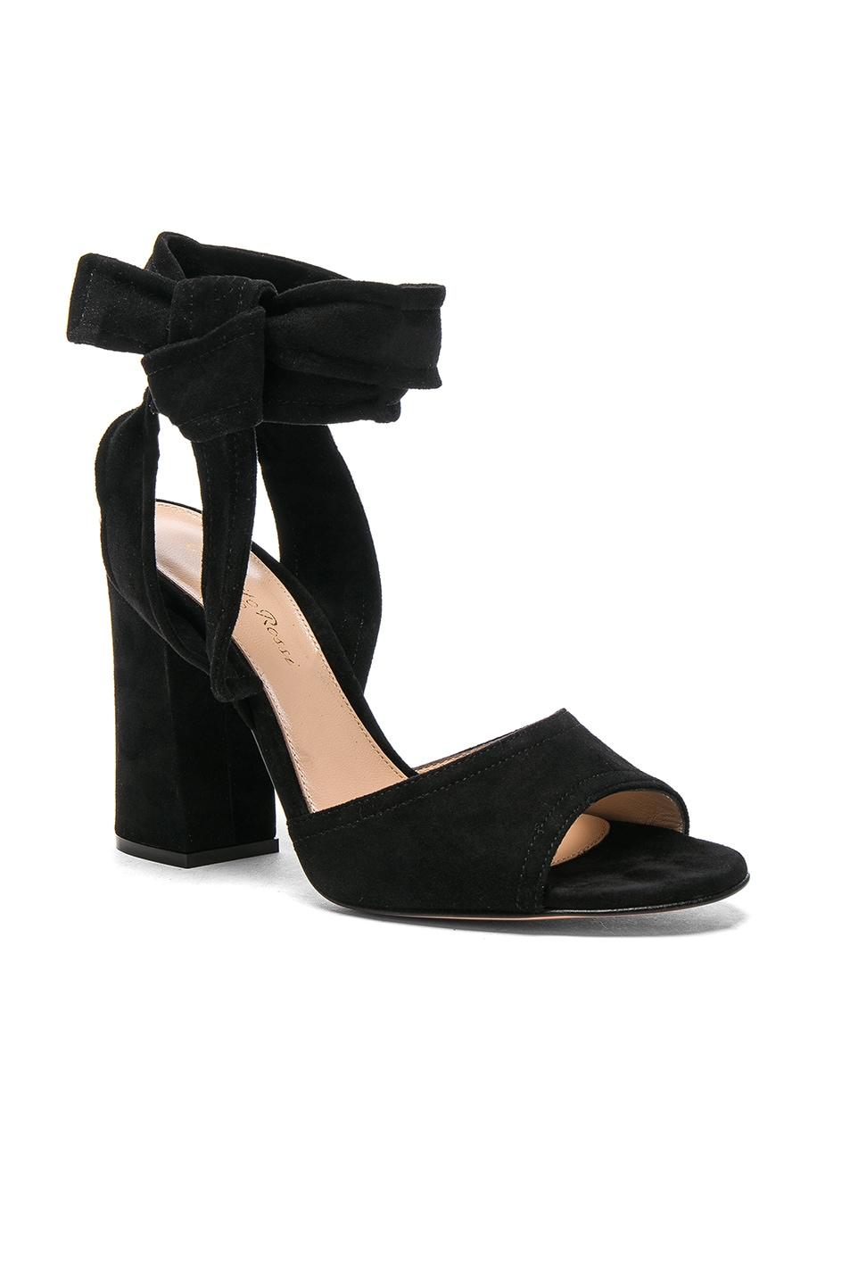 Image 2 of Gianvito Rossi Suede Ankle Tie Heels in Black