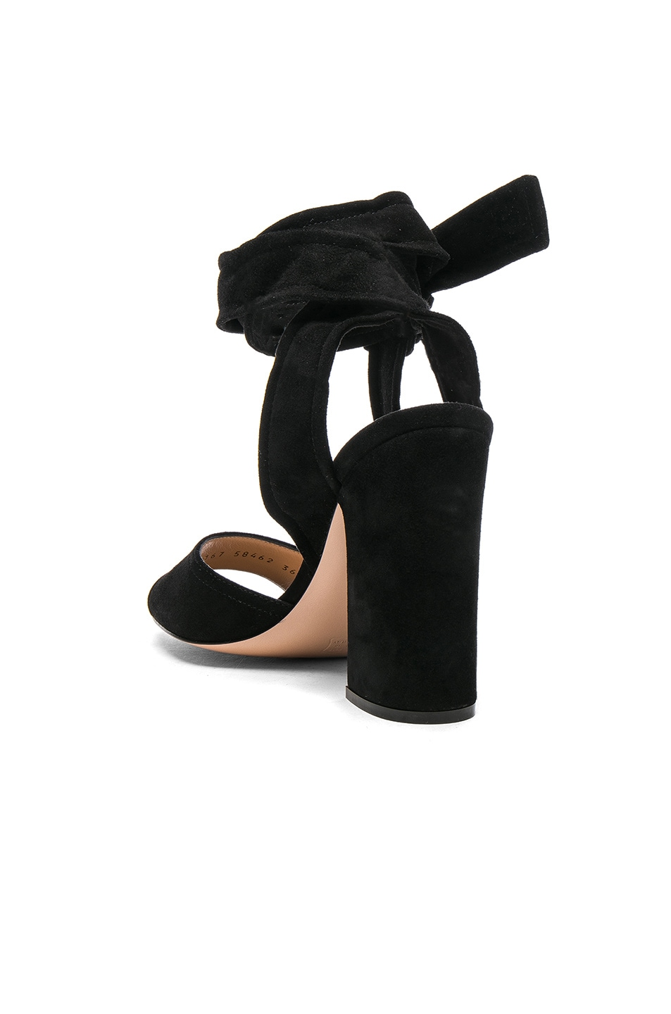 Image 3 of Gianvito Rossi Suede Ankle Tie Heels in Black