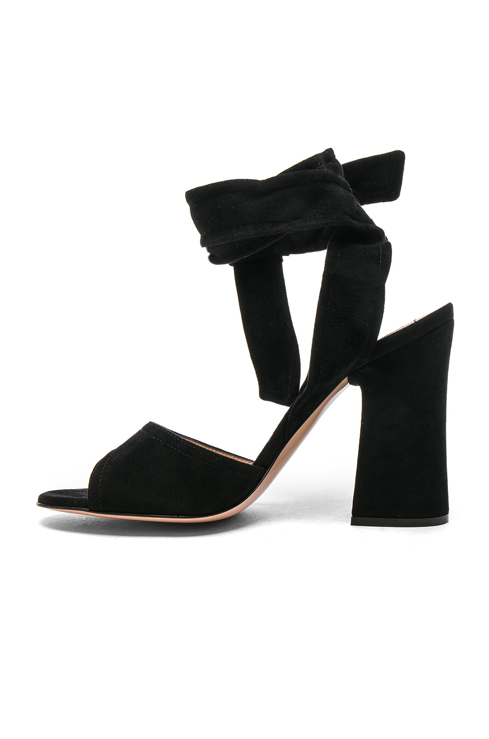 Image 5 of Gianvito Rossi Suede Ankle Tie Heels in Black