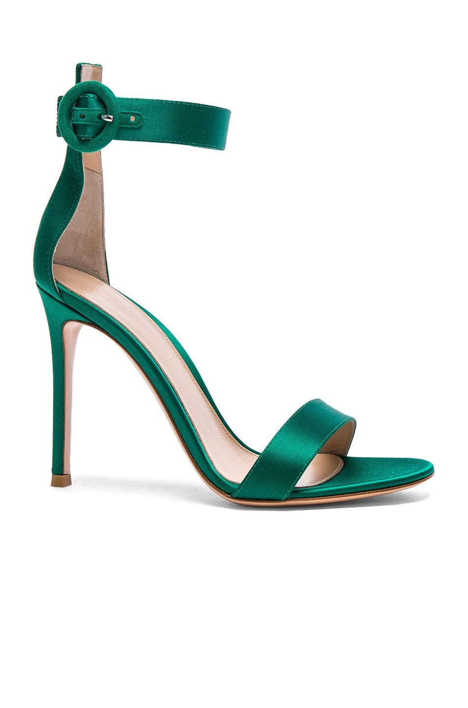 Image 1 of Gianvito Rossi Satin Portofino Heels in Emerald