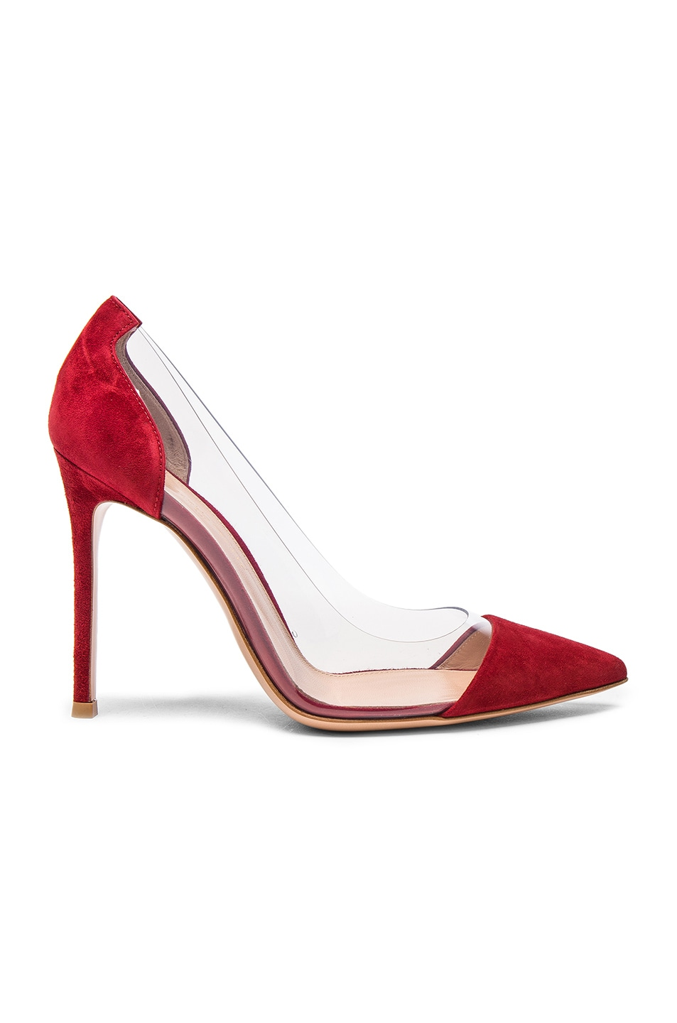Image 1 of Gianvito Rossi Suede Plexi Pumps in Granata