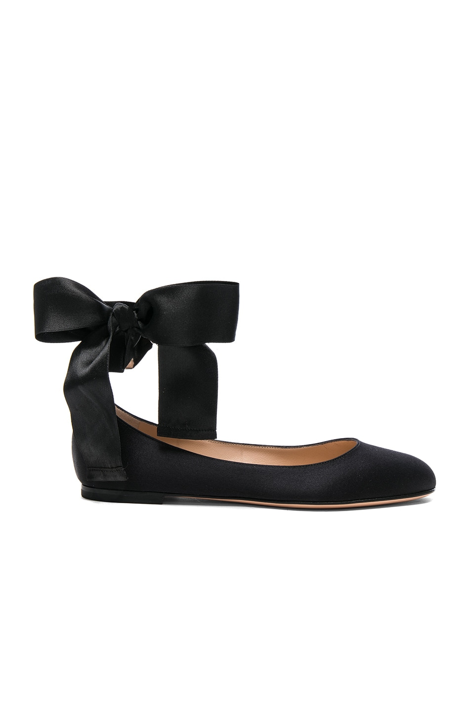 Image 1 of Gianvito Rossi Satin Odette Ankle Tie Flats in Black