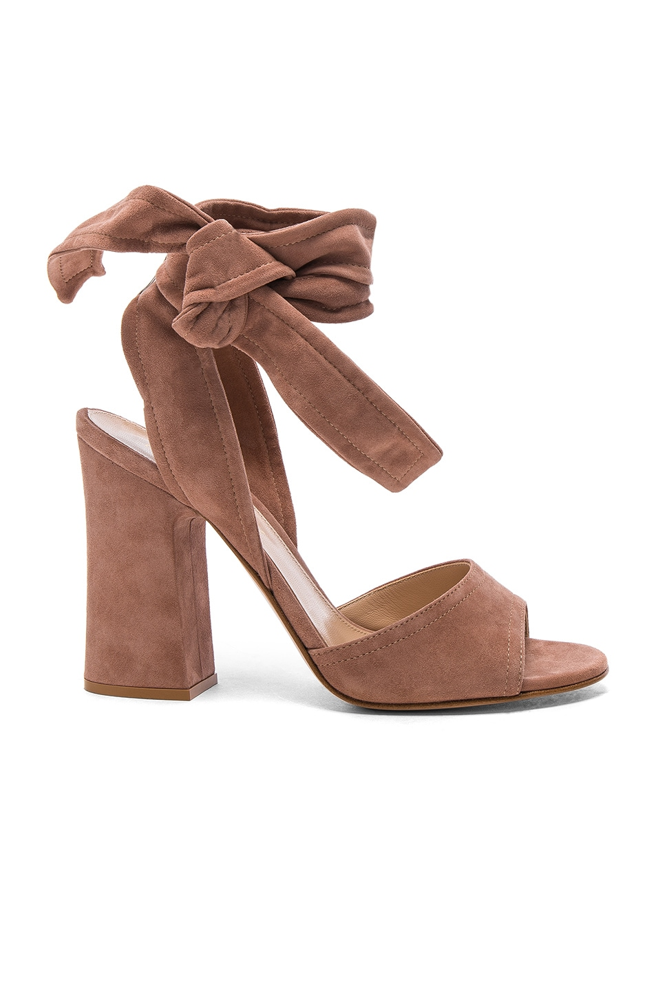 Image 1 of Gianvito Rossi Suede Ankle Tie Heels in Praline