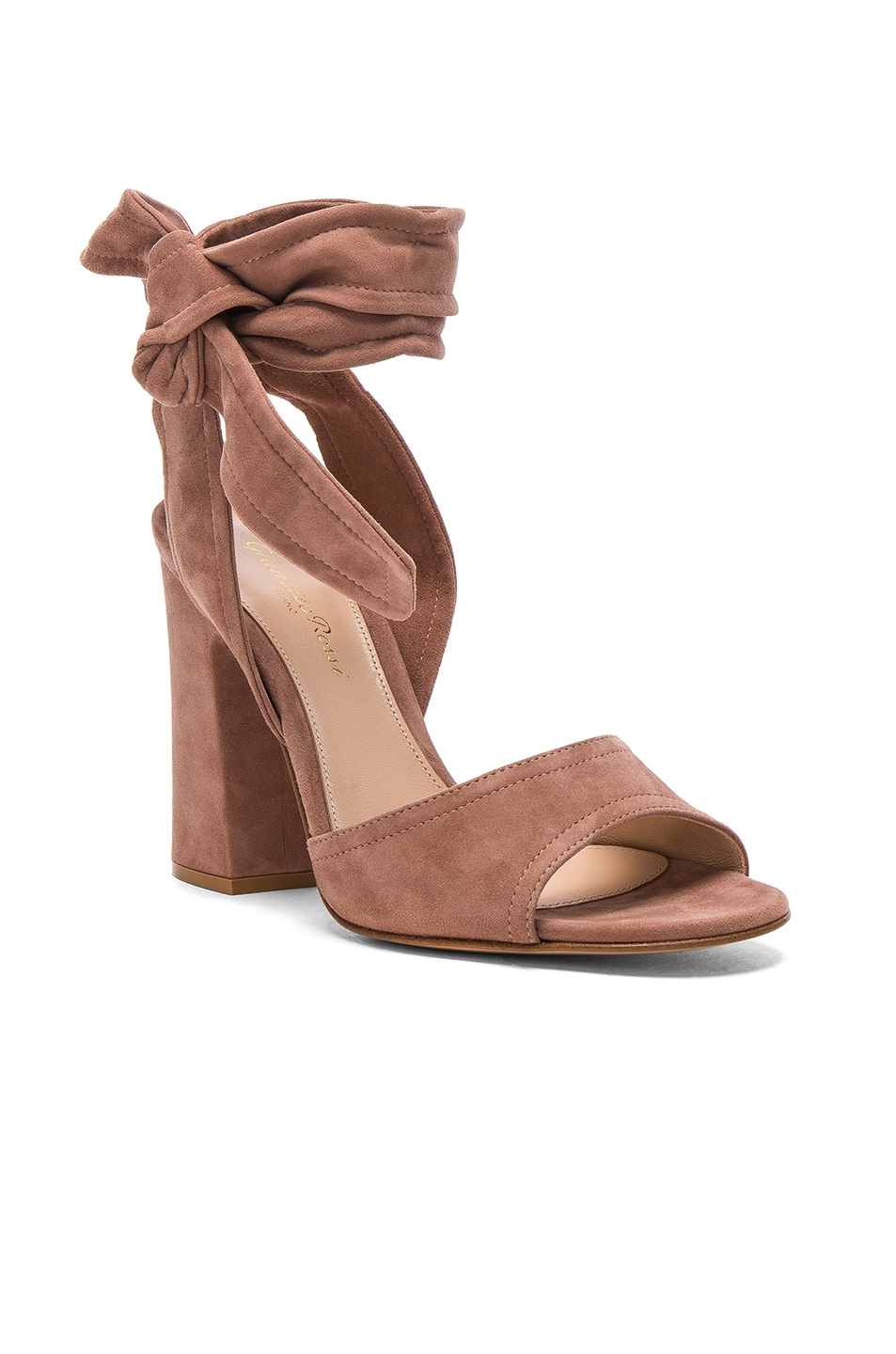 Image 2 of Gianvito Rossi Suede Ankle Tie Heels in Praline