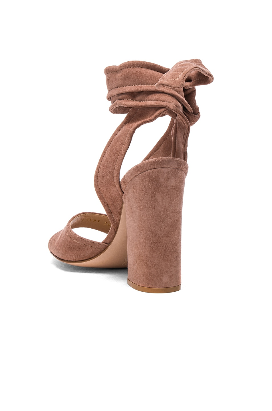Image 3 of Gianvito Rossi Suede Ankle Tie Heels in Praline