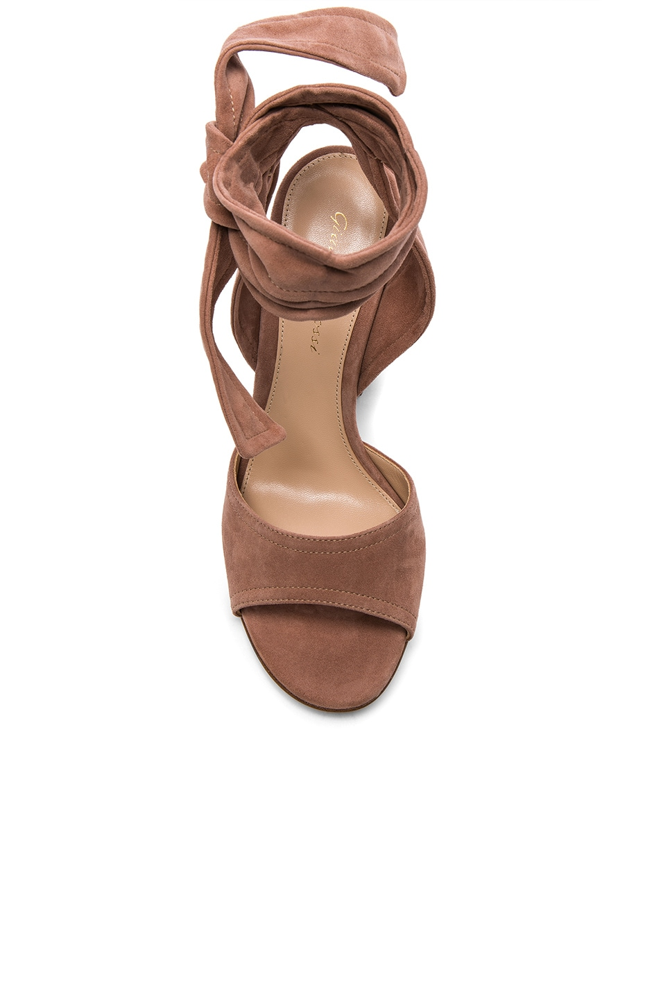 Image 4 of Gianvito Rossi Suede Ankle Tie Heels in Praline
