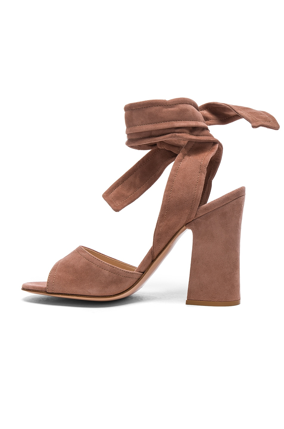 Image 5 of Gianvito Rossi Suede Ankle Tie Heels in Praline