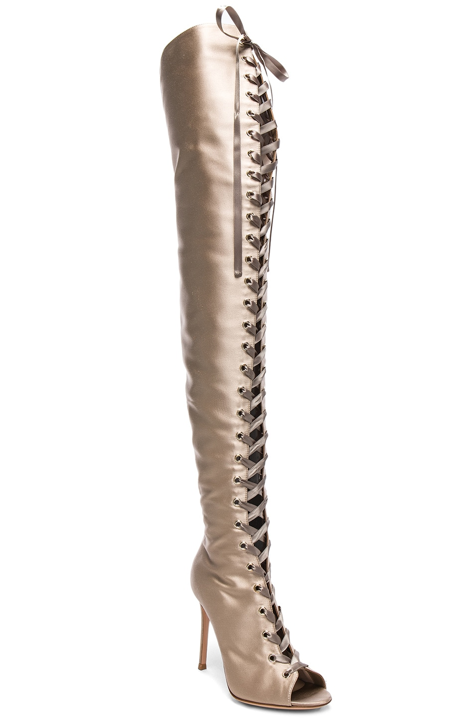 Image 2 of Gianvito Rossi Satin Marie Lace Up Boots in Bisque