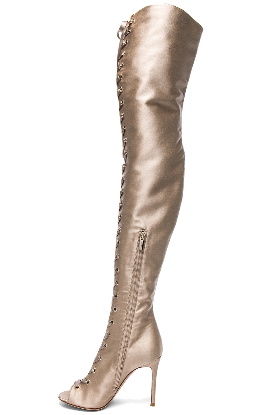 Image 5 of Gianvito Rossi Satin Marie Lace Up Boots in Bisque