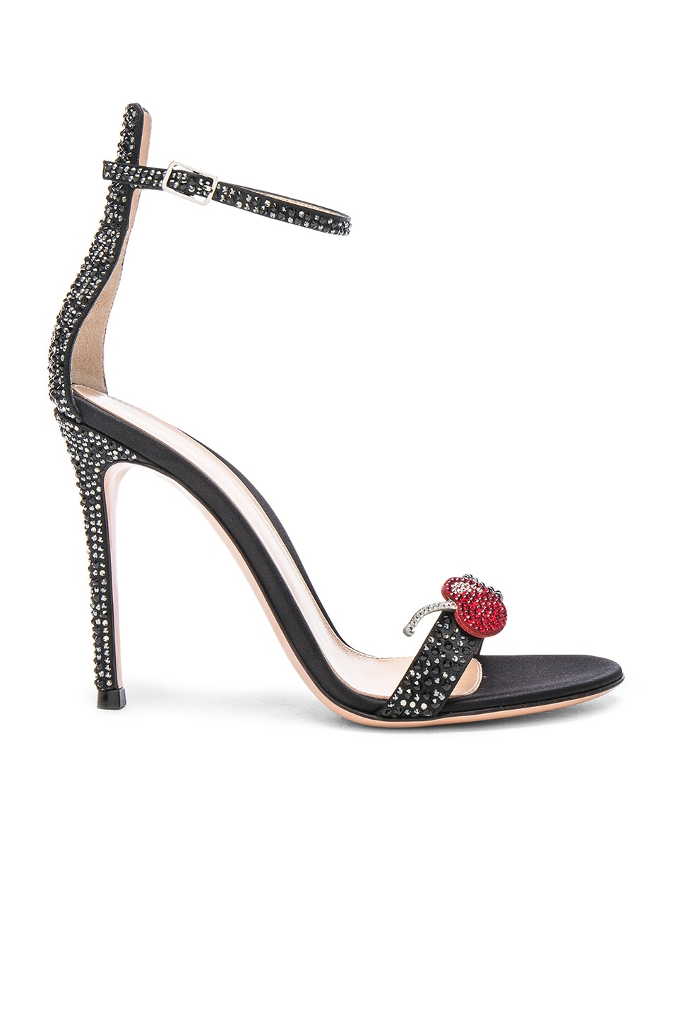 Image 1 of Gianvito Rossi Crystal Embellished Ankle Strap Sandals in Black