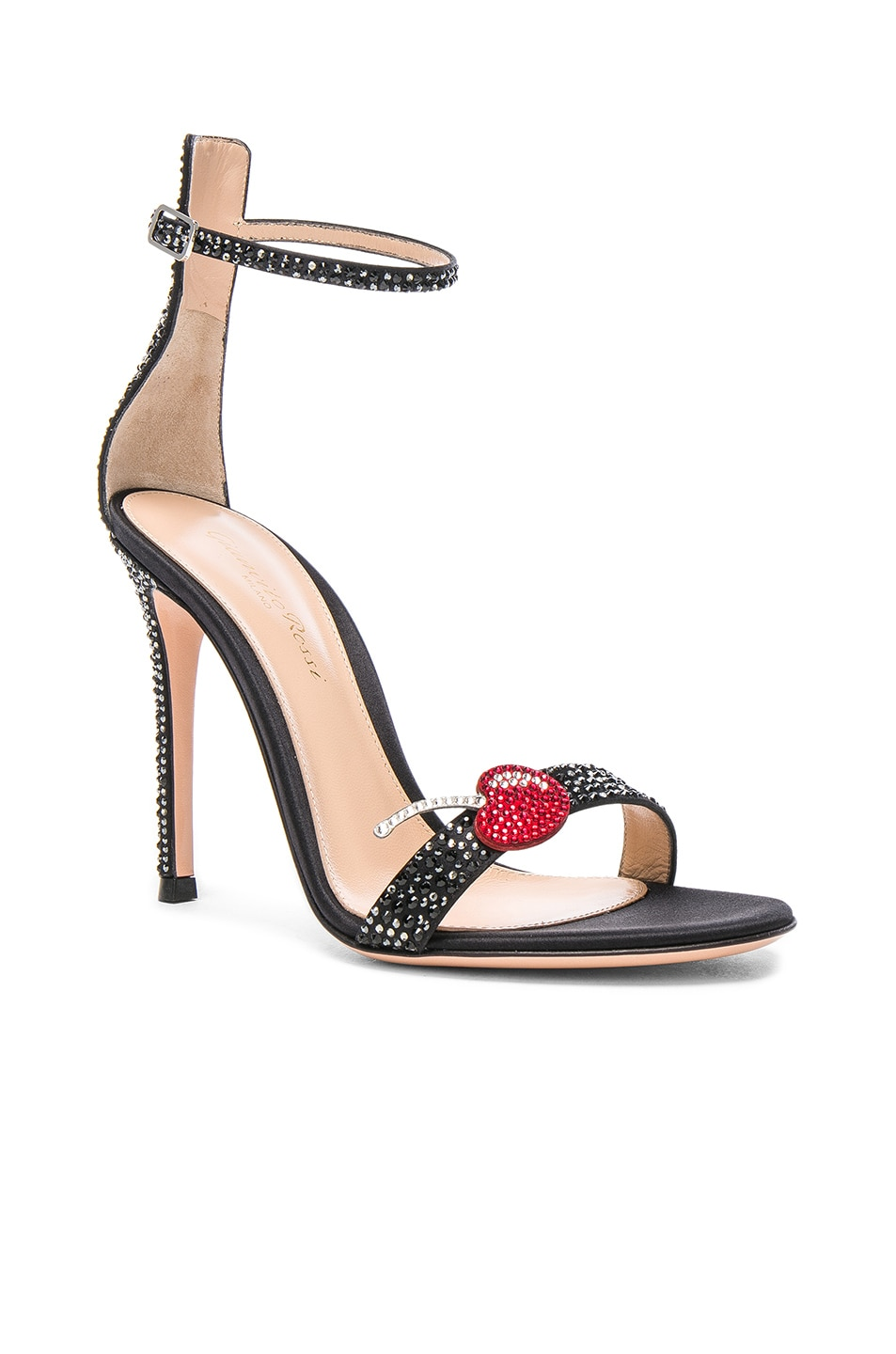 Image 2 of Gianvito Rossi Crystal Embellished Ankle Strap Sandals in Black