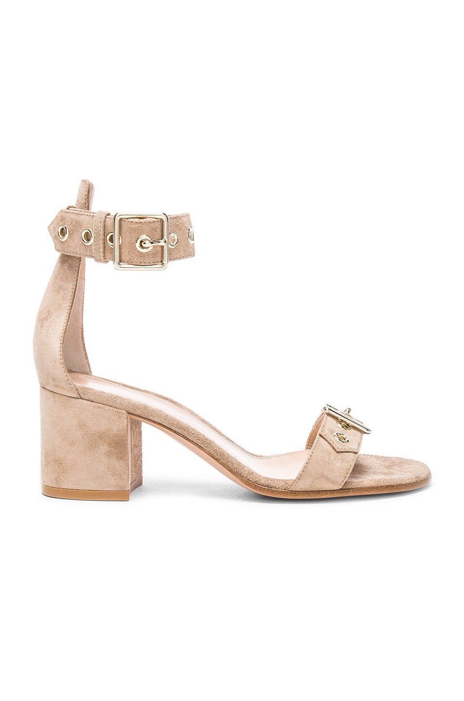 Image 1 of Gianvito Rossi Suede Hayes Buckle Detail Sandals in Bisque