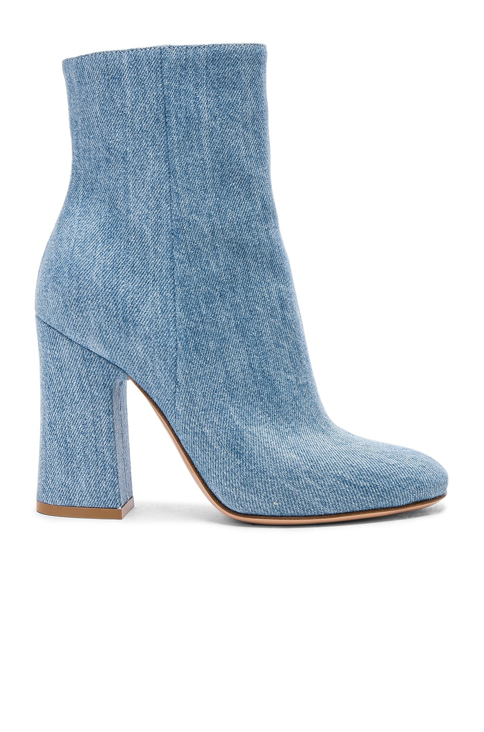 Image 1 of Gianvito Rossi Denim Shelly Booties in Stonewash