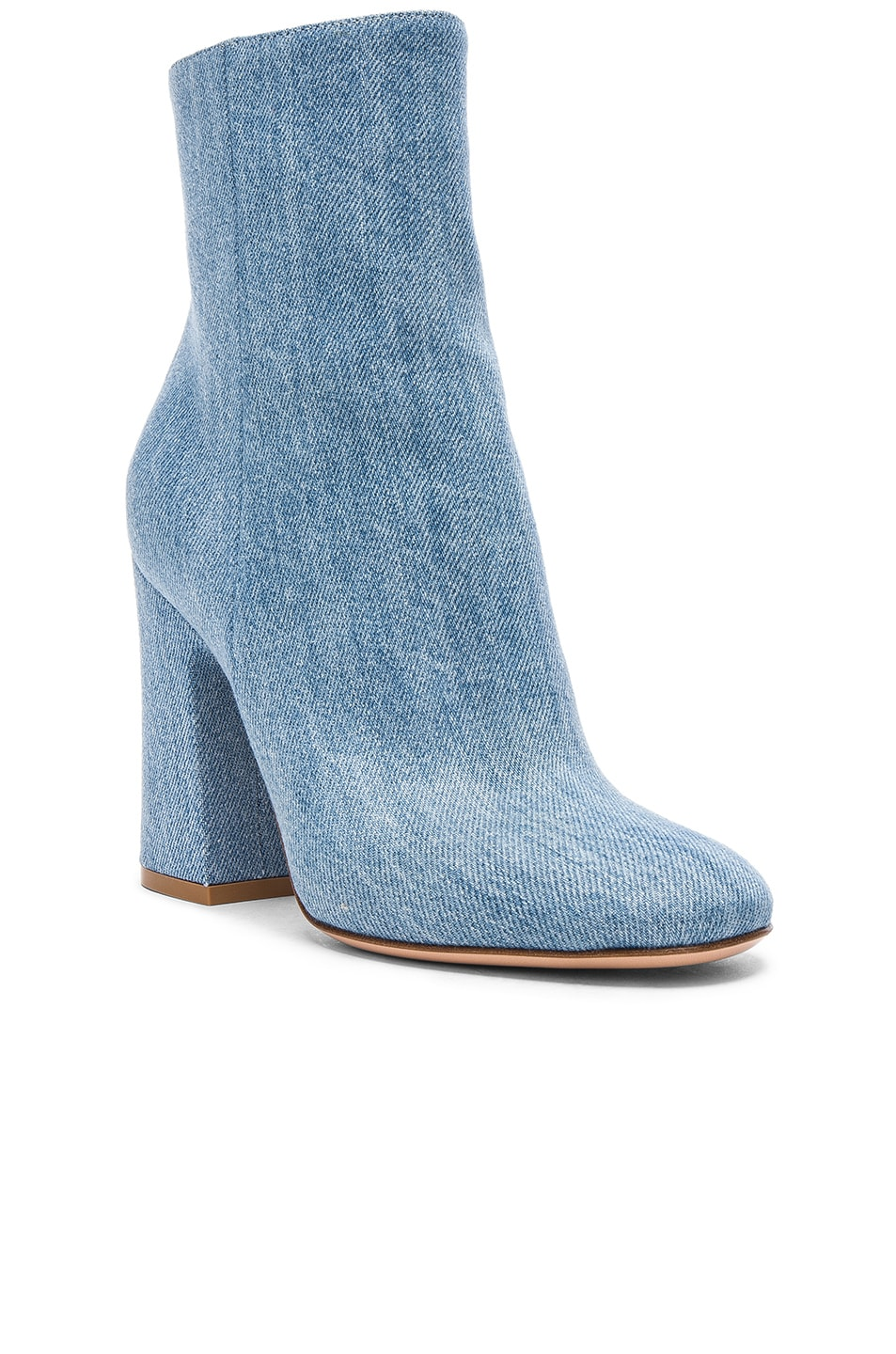Image 2 of Gianvito Rossi Denim Shelly Booties in Stonewash