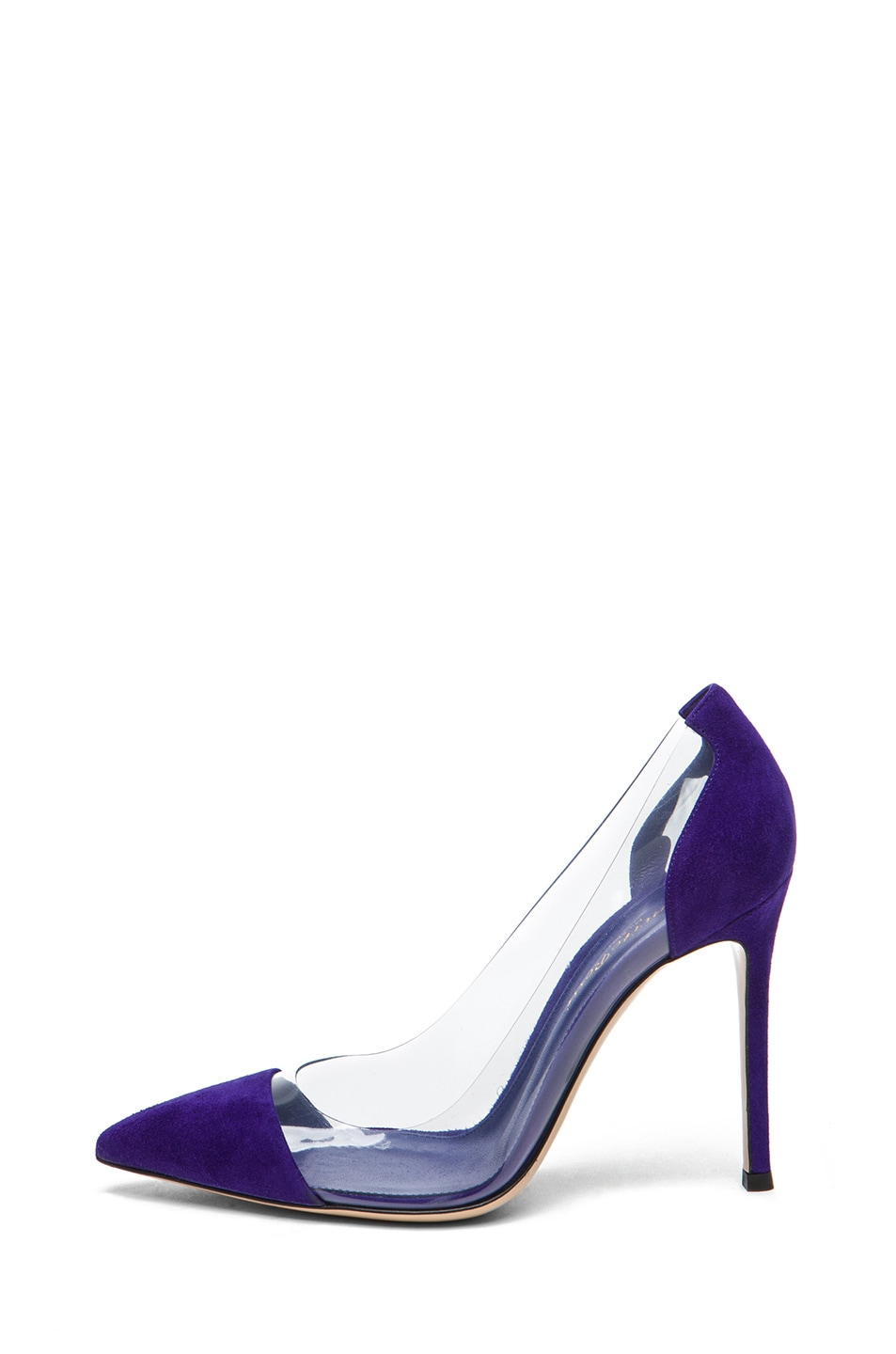 Image 1 of Gianvito Rossi Plexy Suede Laser Pump in Indigo