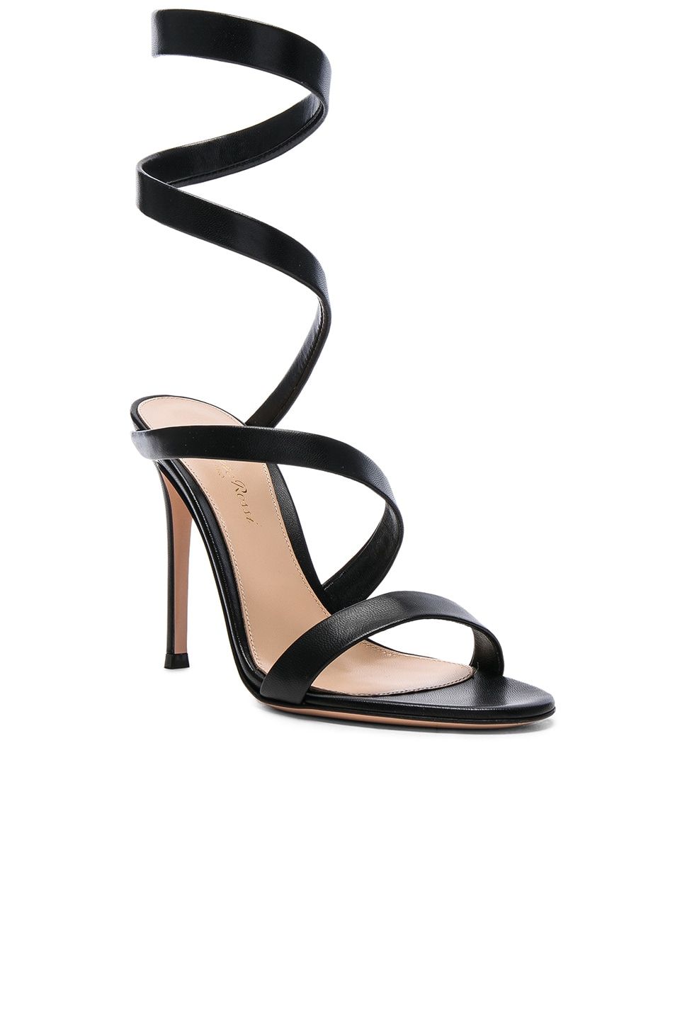 Image 2 of Gianvito Rossi Leather Opera Sandals in Black