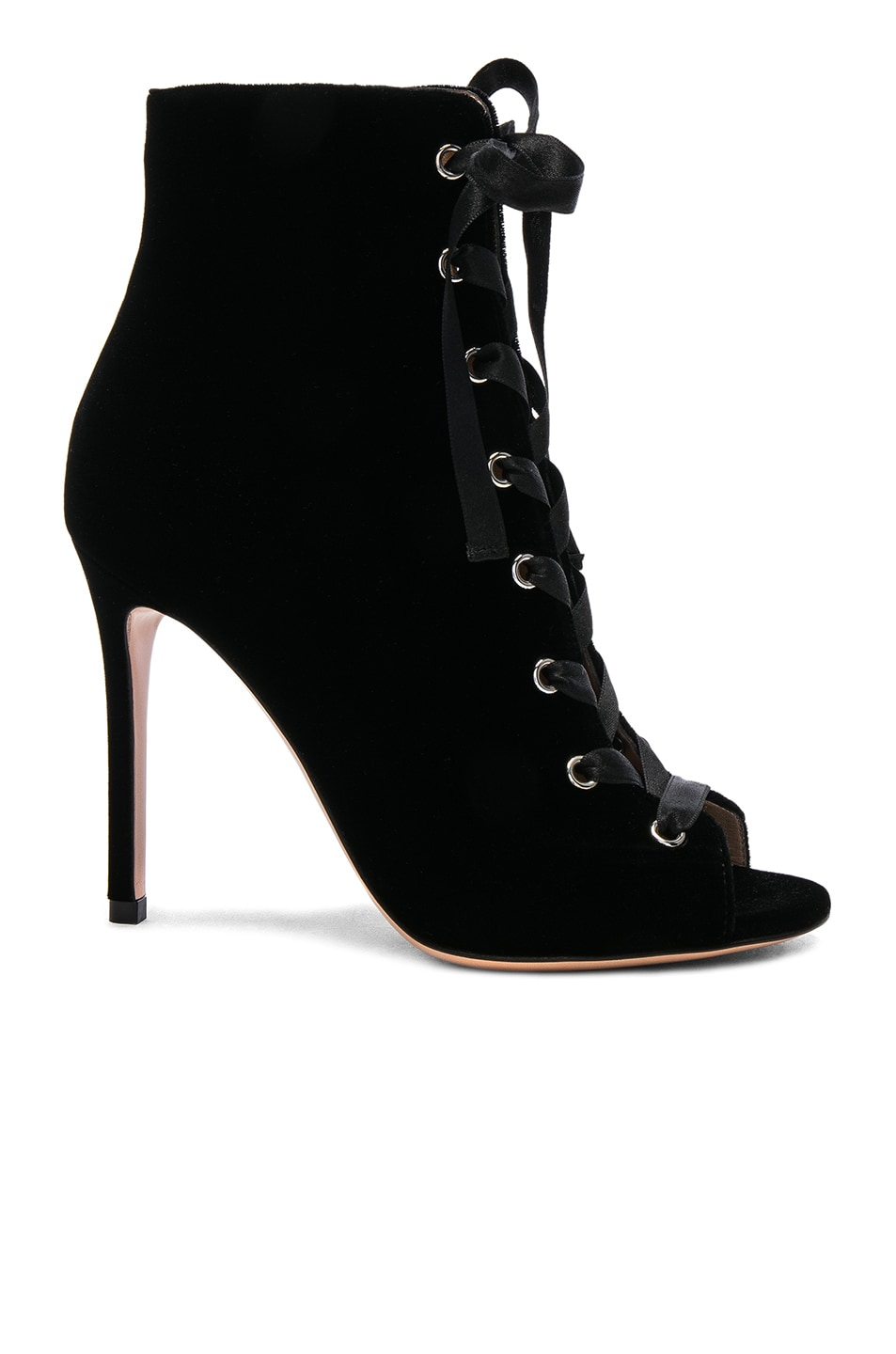 Image 1 of Gianvito Rossi Velvet Marie Lace Up Booties in Black