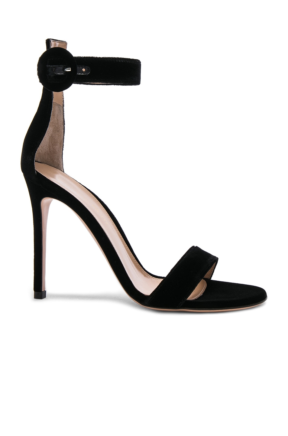 Image 1 of Gianvito Rossi Velvet Portofino Heels in Black
