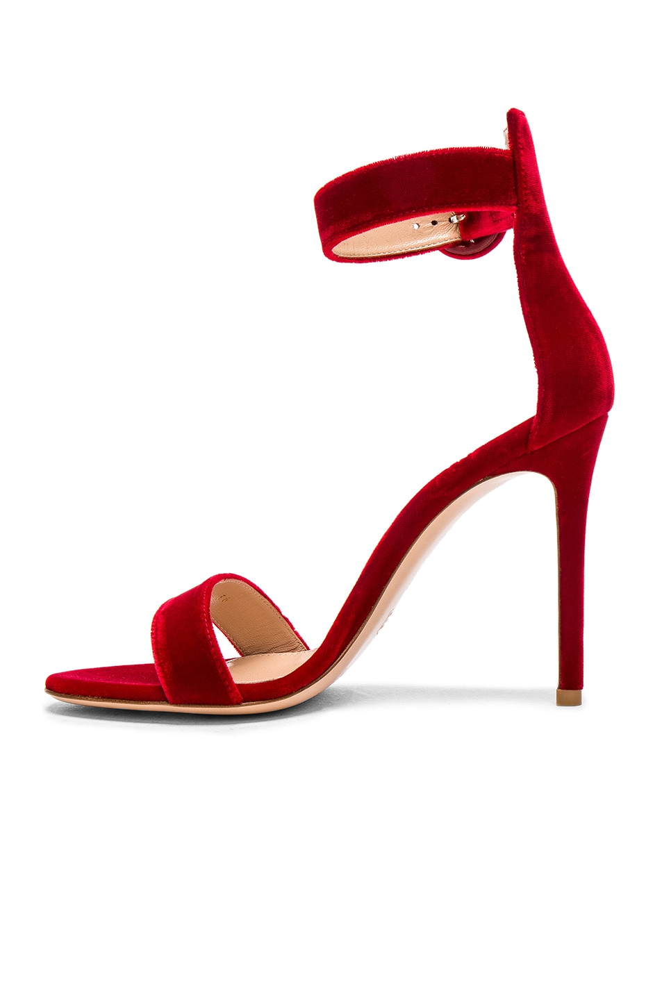 Image 5 of Gianvito Rossi Velvet Portofino Heels in Tabasco Red