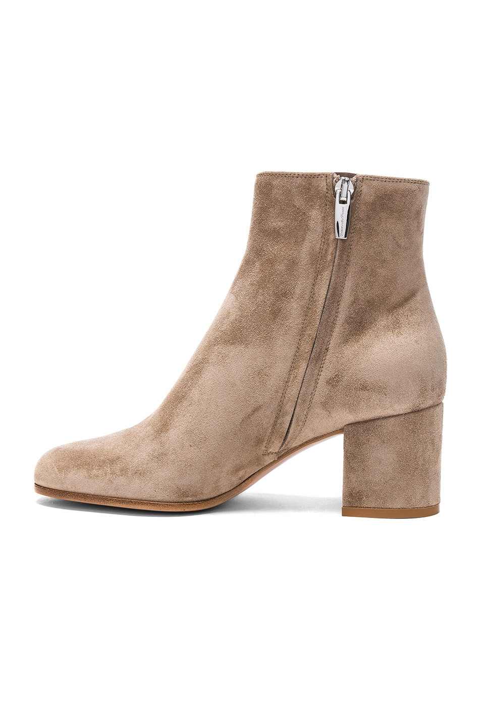 Gianvito Rossi Suede Margaux Booties in Neutrals.