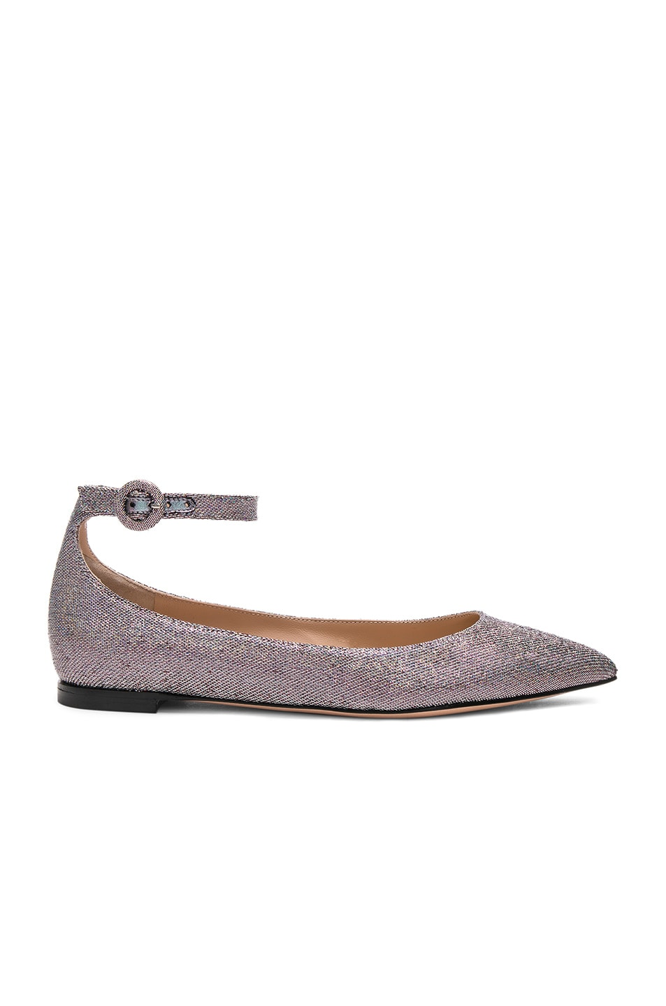 Image 1 of Gianvito Rossi Metallic Flats in Silver