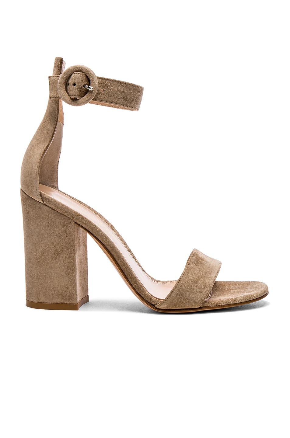 Image 1 of Gianvito Rossi Suede Versilia Block Heels in Bisque