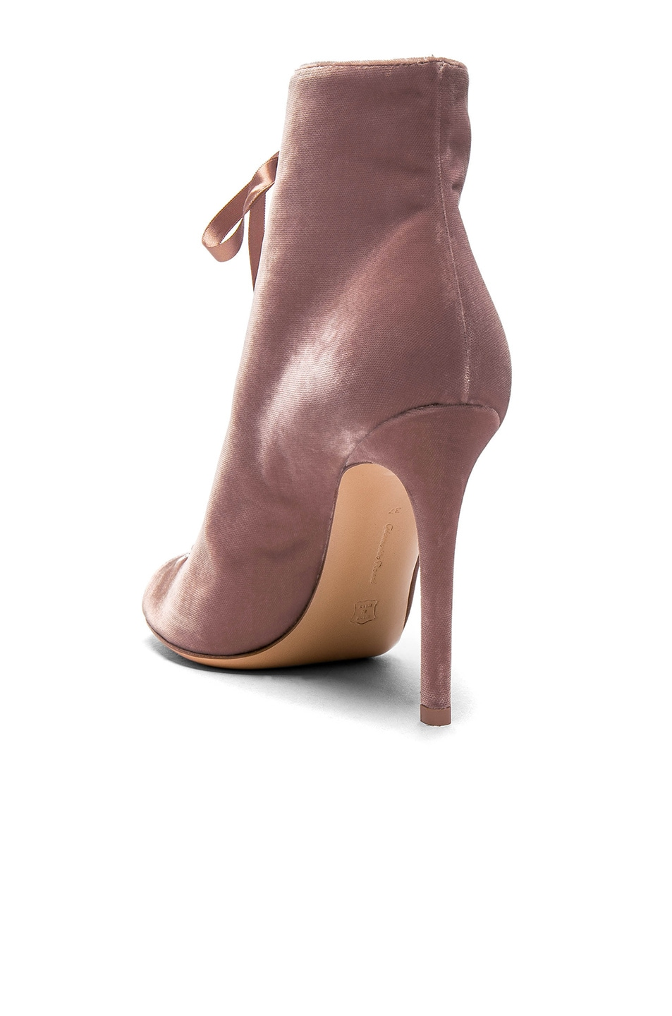 Image 3 of Gianvito Rossi for FWRD Velvet Marie Lace Up Booties in Rosie