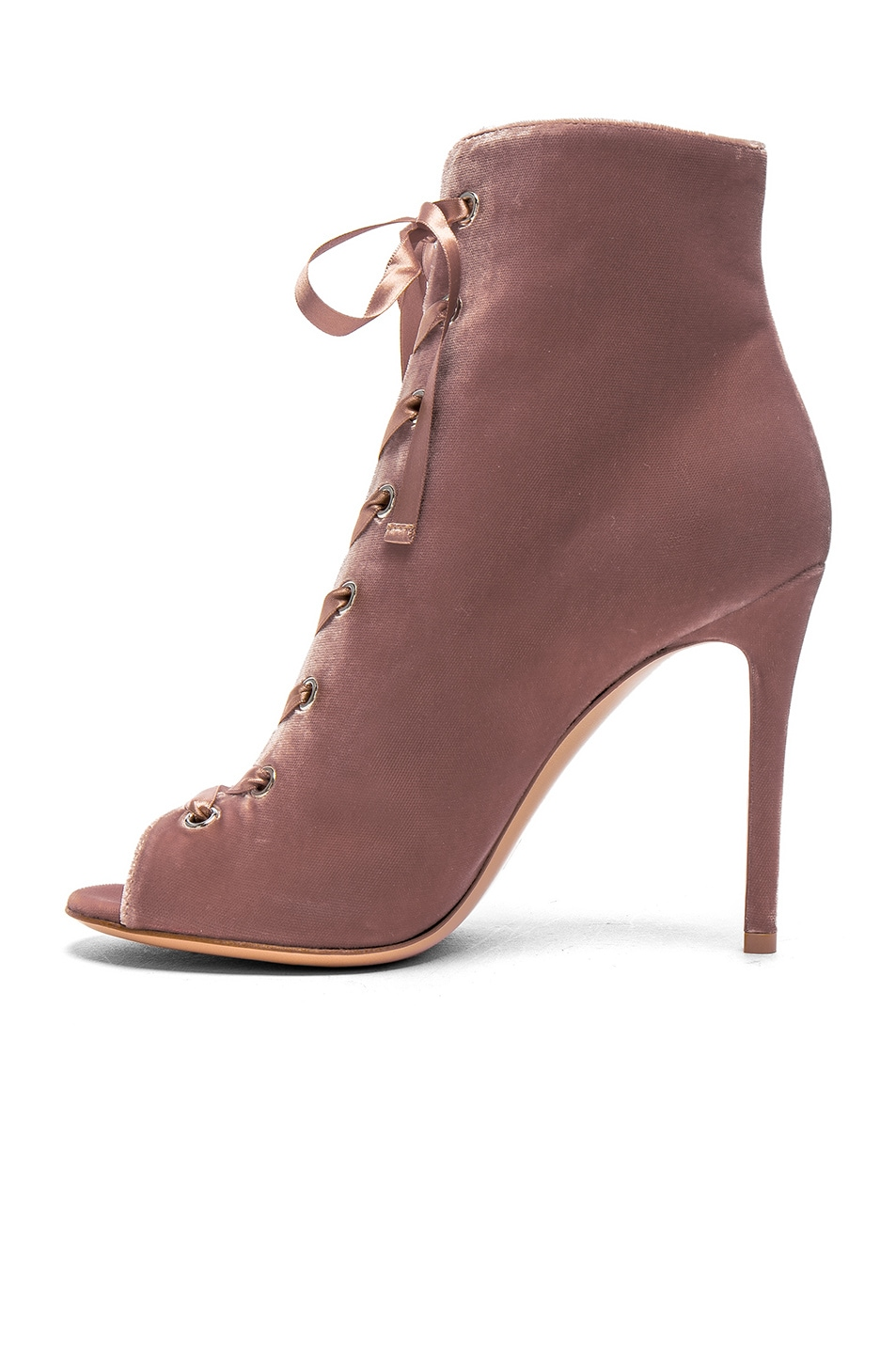 Image 5 of Gianvito Rossi for FWRD Velvet Marie Lace Up Booties in Rosie