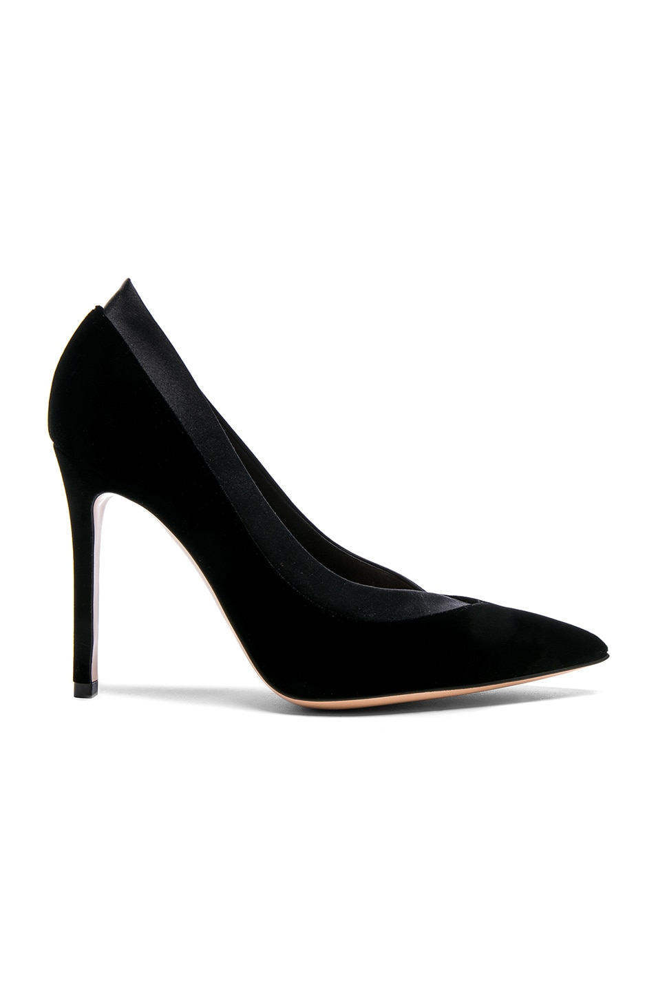 Image 1 of Gianvito Rossi Velvet & Satin Tuxedo Pumps in Black & Black