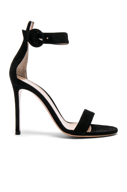 Image 1 of Gianvito Rossi Suede Portofino Heels in Black