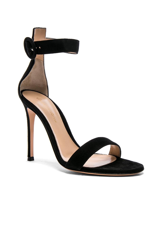 Image 2 of Gianvito Rossi Suede Portofino Heels in Black