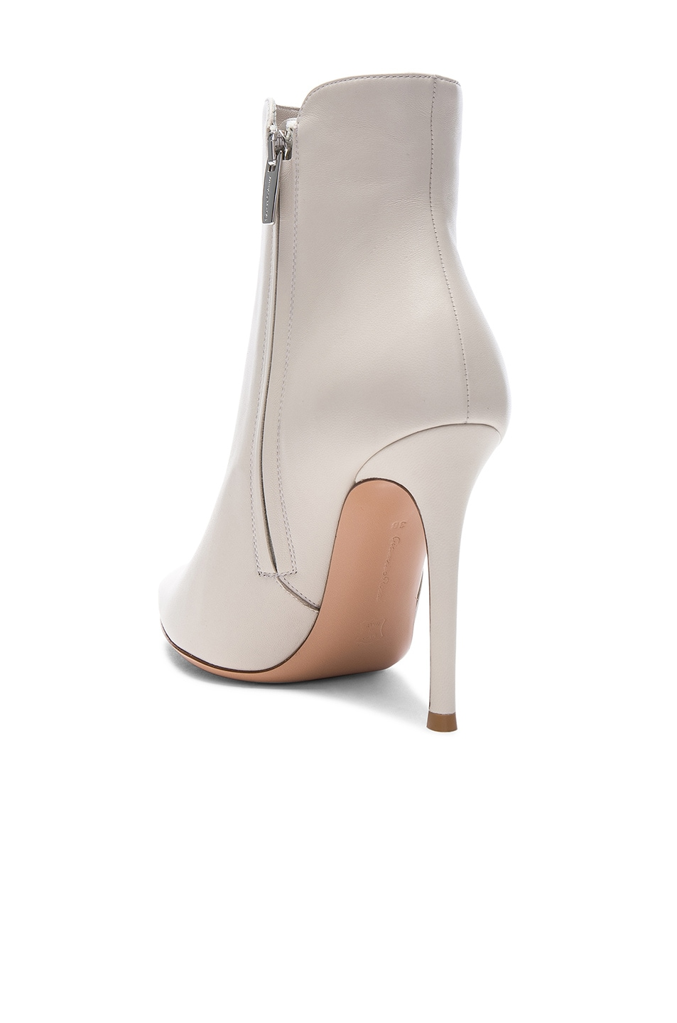 Image 3 of Gianvito Rossi Nappa Leather Levy Ankle Boots in Off White