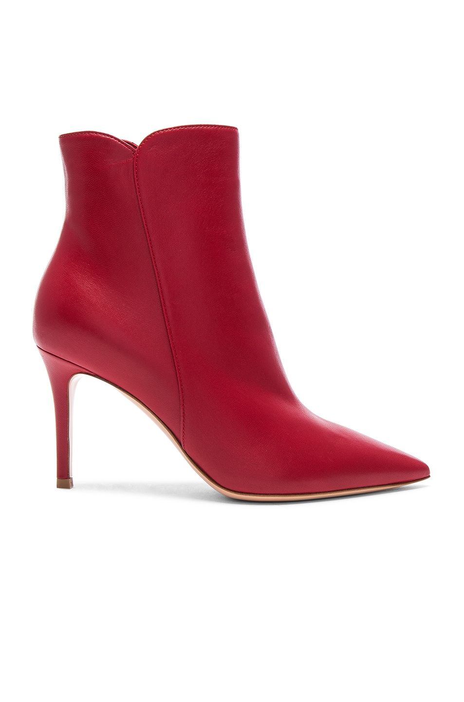 Image 1 of Gianvito Rossi Nappa Leather Levy Ankle Boots in Tabasco Red