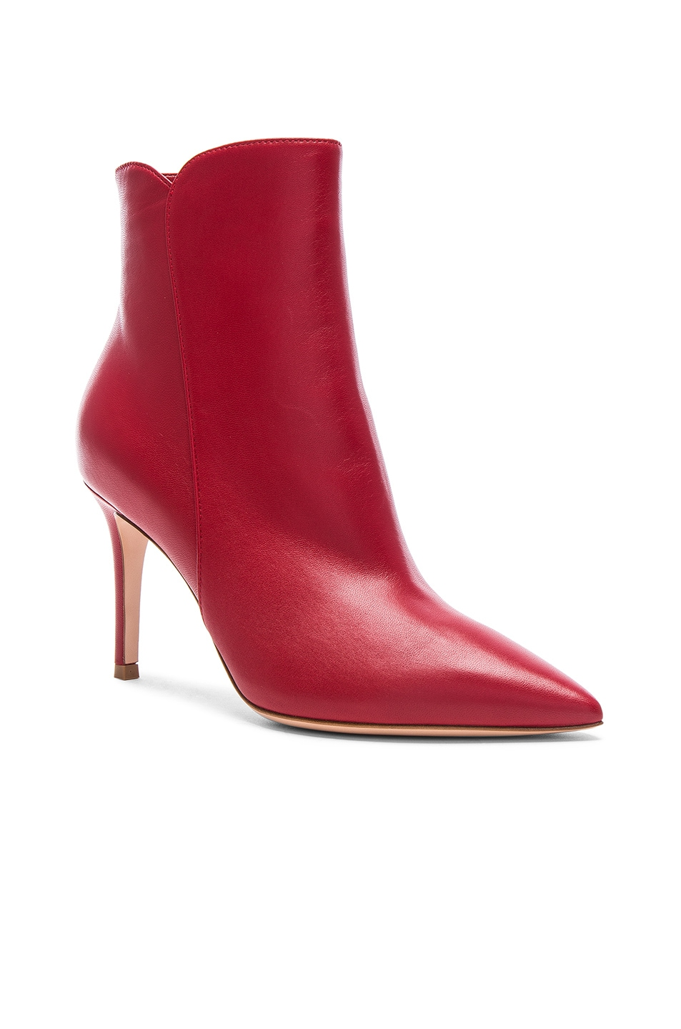 Image 2 of Gianvito Rossi Nappa Leather Levy Ankle Boots in Tabasco Red