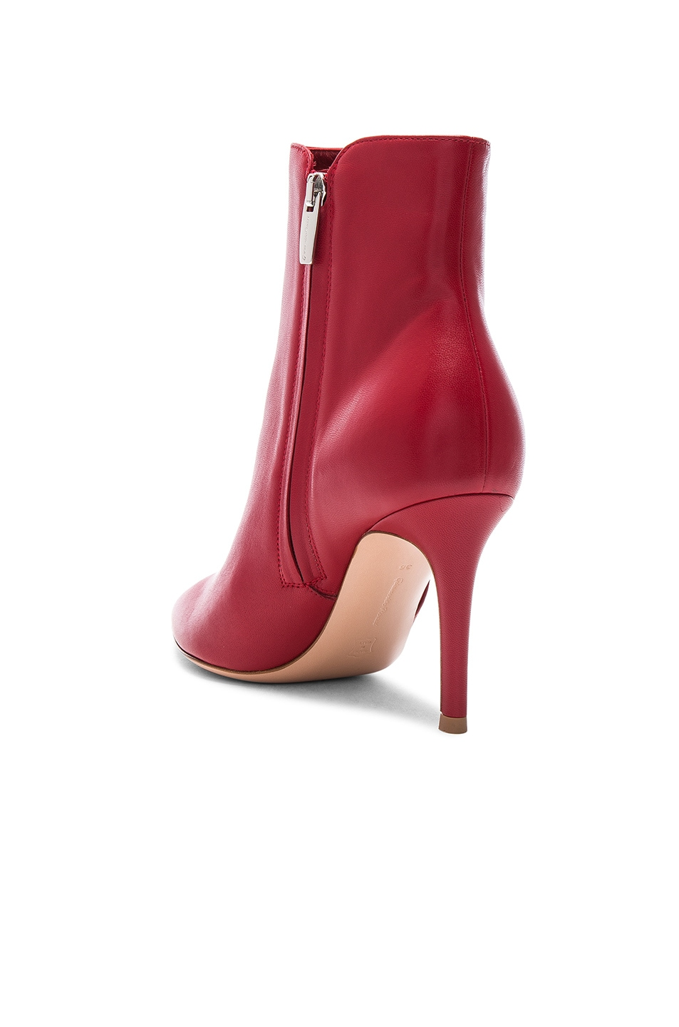 Image 3 of Gianvito Rossi Nappa Leather Levy Ankle Boots in Tabasco Red