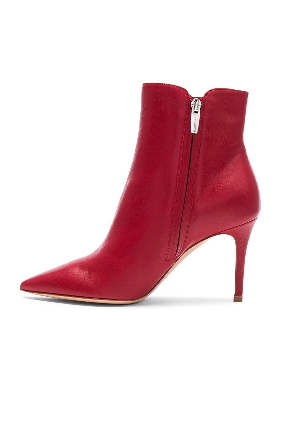 Image 5 of Gianvito Rossi Nappa Leather Levy Ankle Boots in Tabasco Red