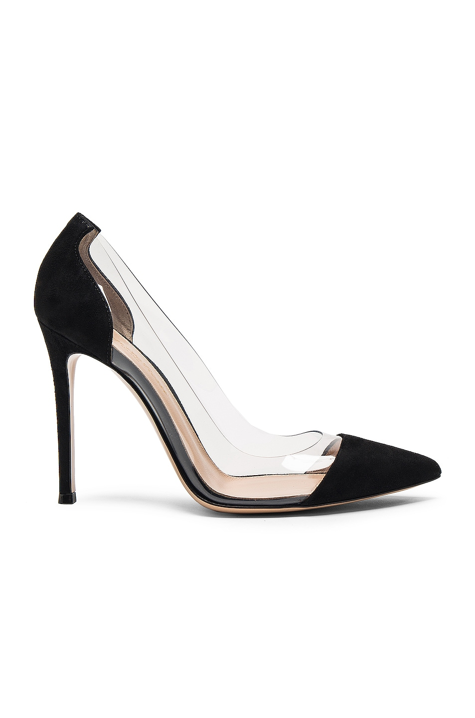 Image 1 of Gianvito Rossi Suede & Plexy Pumps in Black
