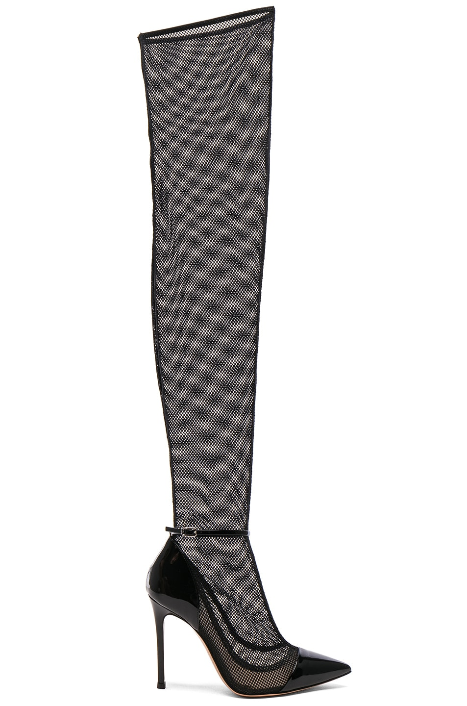 Gianvito Rossi Patent & Mesh Idol Thigh High Boots in . GKxUDw9