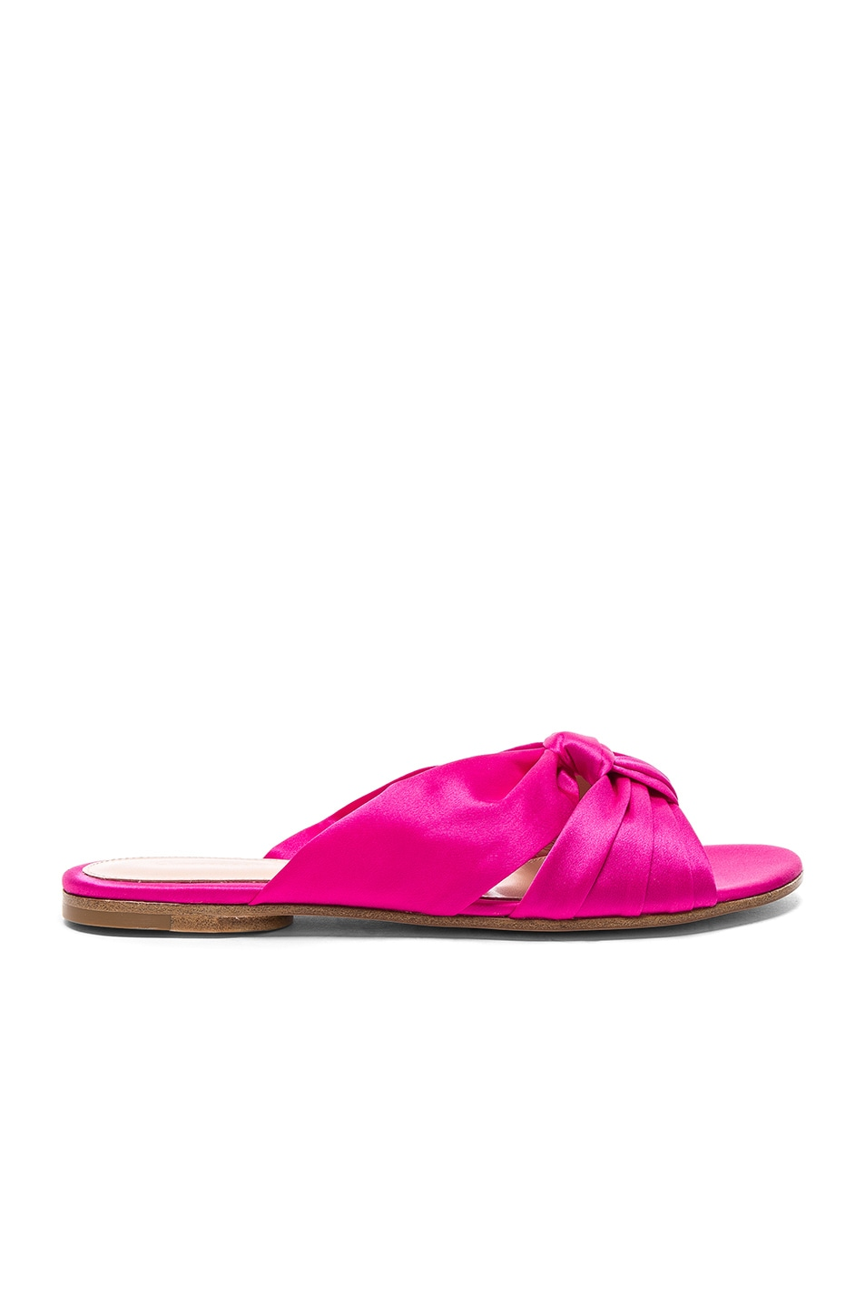 Image 1 of Gianvito Rossi Satin Blair Knot Sandals in Fuchsia