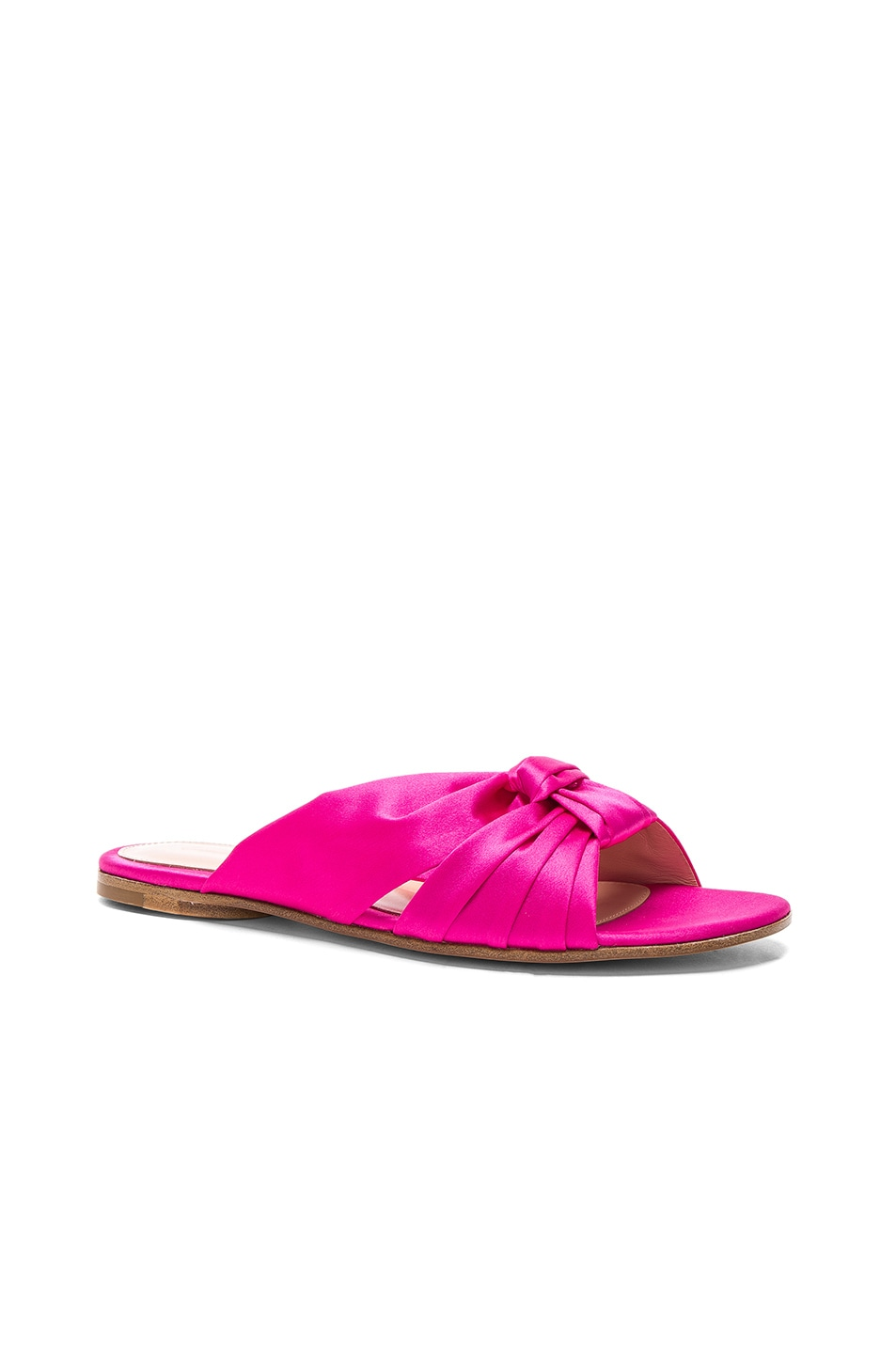 Image 2 of Gianvito Rossi Satin Blair Knot Sandals in Fuchsia
